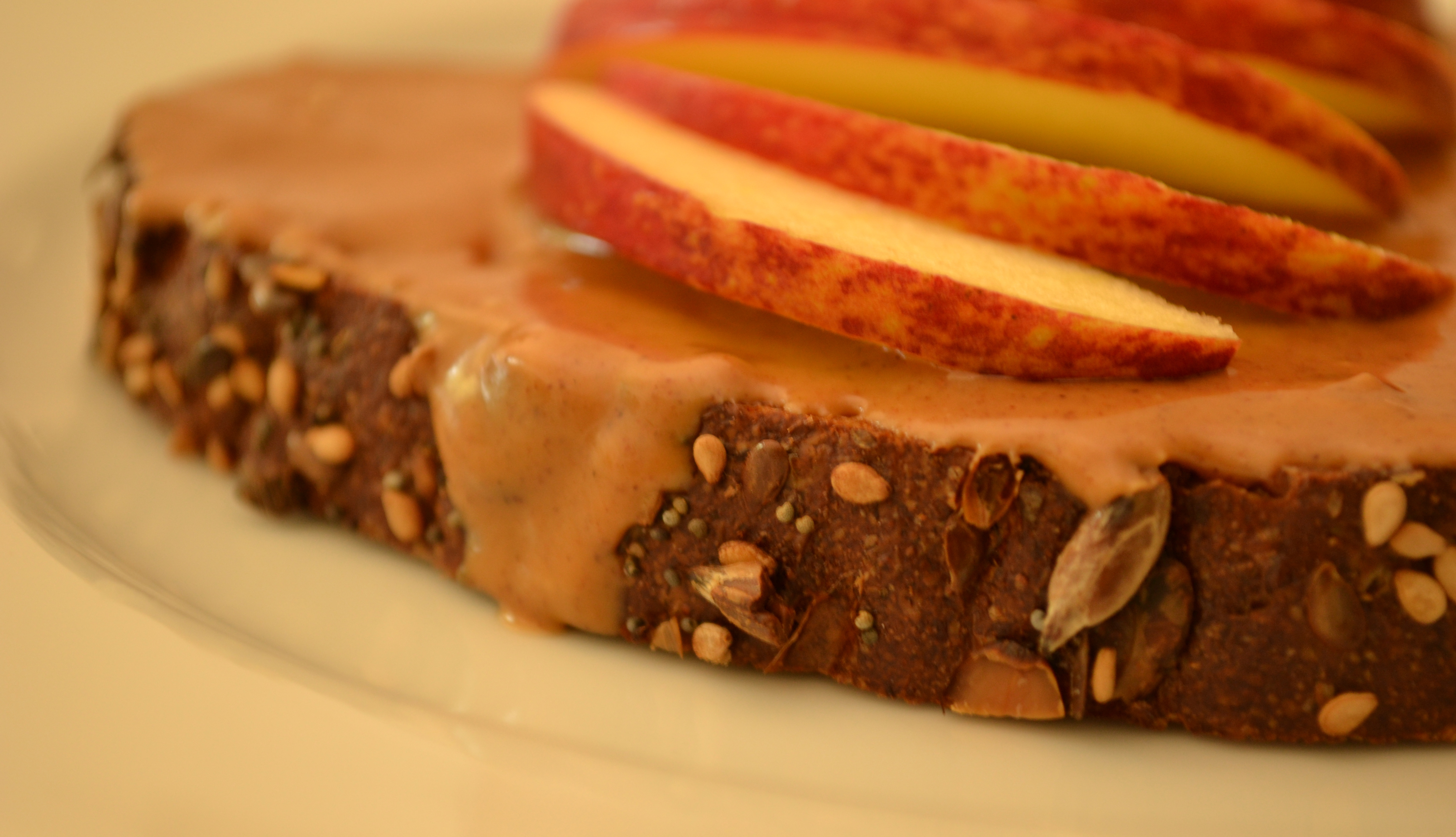 Almond Butter Toast with Sliced Apples (or Bananas)